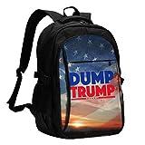 Mochilas de viaje de alta capacidad resistentes al agua con puerto de carga USB y bloqueo para hombres, mujeres, colegio, estudiante, senderismo, casual, con estampado de volcado Trump
