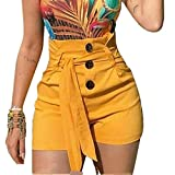 N\P Mujeres cintura alta pantalones cortos botón verano casual mujer