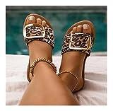 Flystcn Zapatos de Mujer Mujeres de Metal decoración Zapatillas Verano al Aire Libre Plana Playa Moda de Punta de Punta de Punta de Punta Femenina Lavabinas (Color : Leopard, Shoe Size : 39)