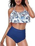 Mujer Bikini Conjunto De Cintura Alta Volantes Correa Lindo Tamaños Cómodos Traje De Baño De Cultivos Top Volant Halter De Moda del Bikini Top Y Pantalones De Verano Bikini Traje De Baño De Dos