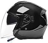 Casco de motocicleta Bluetooth con certificado ECE/DOT, casco de moto jet para hombres y mujeres, casco de motocicleta Bluetooth de moda con casco retro scooter cruiser chopper S,均码