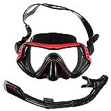 BESPORTBLE Equipo de Snorkel para Adultos Tubo de Snorkel de Silicona Máscara Completa Anti- Niebla Tubo Seco de Snorkel para Snorkel Red de Buceo