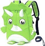 MINGPAI Mochilas para niños pequeños y niñas con cinturones, lindas mochilas 3D para niños en edad preescolar (Green,7.7 x 4.0 x 10.2)