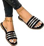 SKYWPOJU Sandalias para Mujer Sandalias Planas Slip-On Open Toe Wedge Slider Chanclas Zapatillas Casual Summer Beach Sandalias (Color : Black, Size : EU:40/UK:6)