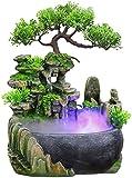 Pop Chile Fuente de la habitación con iluminación, fuente de roca de roca Atomización de la fuente de agua de escritorio Fuente de agua Atmósfera de cascada mágica EXQUISITO Adorno para la mesa de la