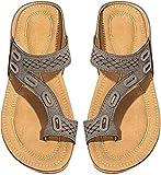 SKYWPOJU Chanclas de Mujer, Sandalias cómodas, Tanga con Separador de Dedos, Suela de cuña, Sandalias Casuales para la Playa (Color : Gray, Size : EU:35/UK:3.5/US:4)