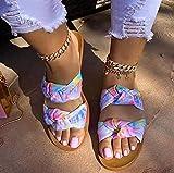 ypyrhh Hombres Mujeres Sandalias,Zapatillas de Damas Planas, Arrastre de Palabra Impreso-Color Rosa_42,Zapatilla de Plataforma con cuña para Mujer