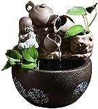 Scultura,Fuente De Escritorio Creativa Tetera De Monje Pequeño Y Inclinación Natural Humidificador Atomizado Fuente Interior Cultura De Buda Relajación Interior Fuente De Escritorio Cascada