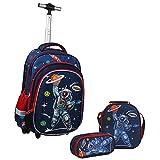Wenlia Mochila con ruedas, estuche para lápices, bolsa de almuerzo 3 en 1, mochila para estudiantes, bolsa con ruedas de astronauta, mochila escolar de dinosaurio para niños