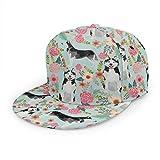 Gorra de béisbol unisex, estilo hip-hop, sombrero plano a la moda, para actividades al aire libre, diseño de perros Husky Florals lindo menta ligera mejor perros Husky lindo diseño