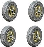 Ruedas (4 unidades) de rueda de goma silenciosa, ruedas de alta resistencia, doble rodamiento de bolas, ruedas industriales para remolque, ruedas de trabajo, carretilla pequeña