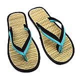 Beylore Chanclas Mujer Chanclas Hombre Verano Sandalias Goma Planas Caminar Zapatos Playa Piscina Comodas Hierba de Ratán Natural Antideslizante Flip Flops Unisexo,Azul,5 UK